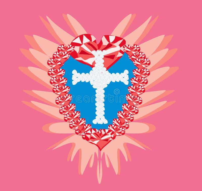 金刚石发怒宗教和红宝石心脏 向量例证