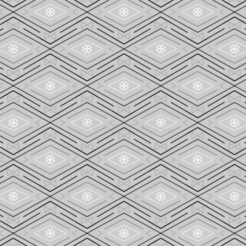 金刚石和之字形线的典雅的银灰色无缝的样式 皇族释放例证