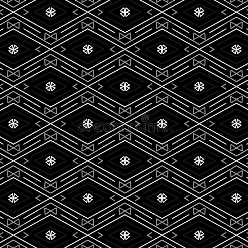 金刚石和之字形线的凉快的黑白无缝的样式 库存例证