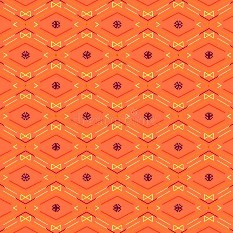 金刚石和之字形线的明亮的橙色无缝的样式 向量例证