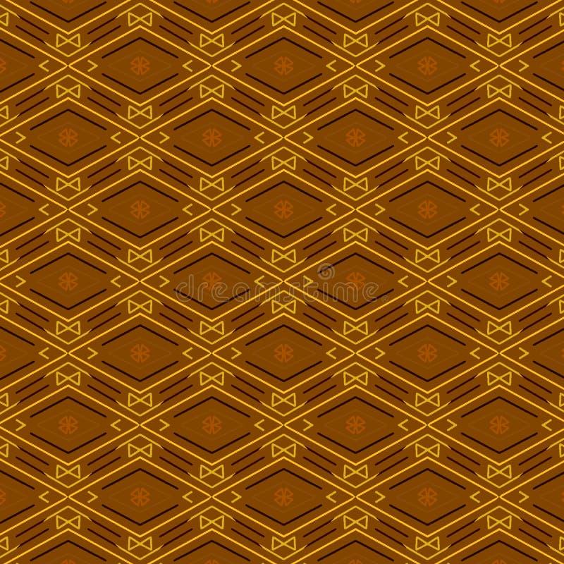金刚石和之字形线的金黄几何无缝的样式豪华设计的 皇族释放例证