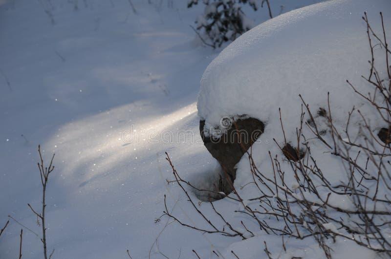 金刚石和阴影:在小瀑布的雪闪闪发光在Christmastime 免版税库存照片