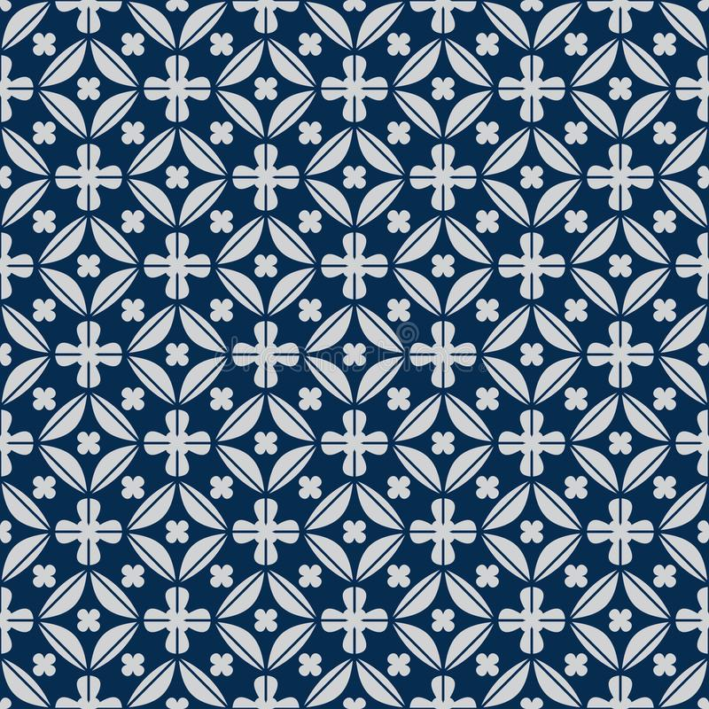 金刚石在对称日本蓝色无缝的样式里面的形状花 库存例证