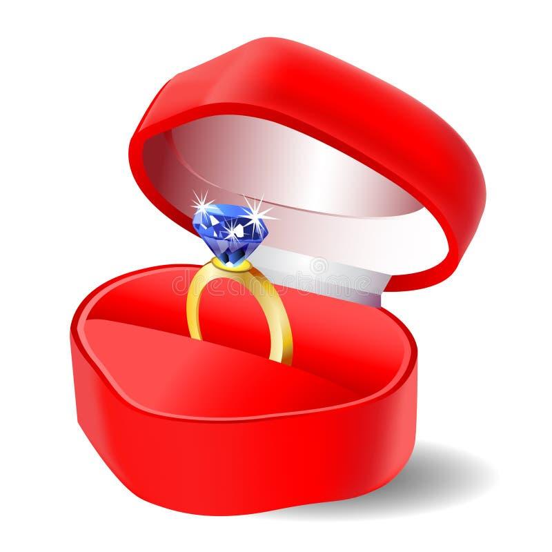 金刚石在箱子传染媒介象的定婚戒指 库存例证