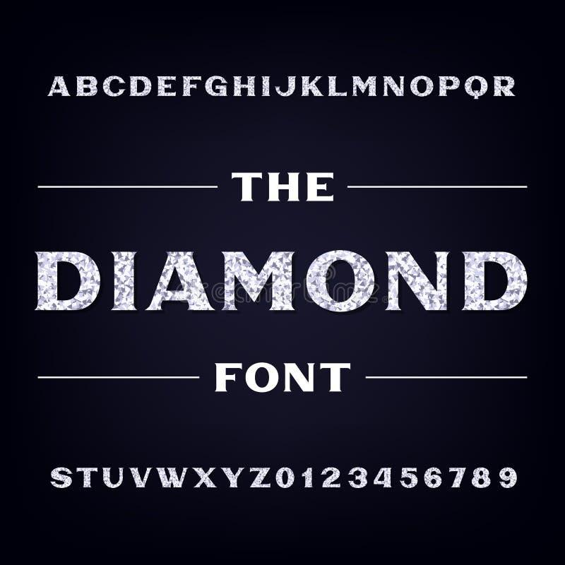 金刚石字母表字体 精采信件和数字 储蓄传染媒介字体 皇族释放例证