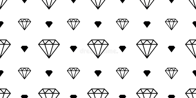 金刚石宝石无缝的样式传染媒介首饰隔绝了空间夜墙纸背景白色 库存例证