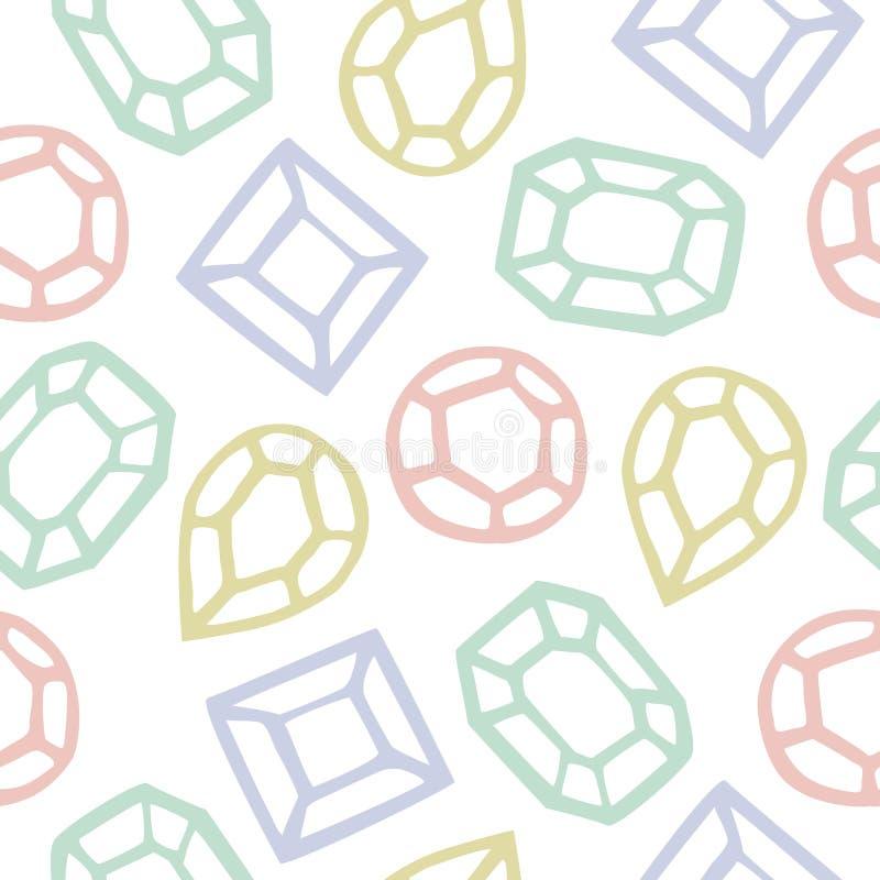 金刚石形状动画片的无缝的样式 向量例证