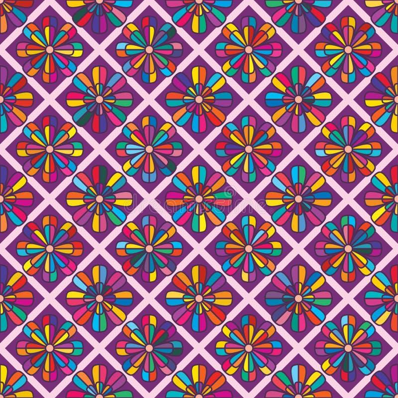 金刚石形状花八渐近五颜六色的无缝的样式 皇族释放例证
