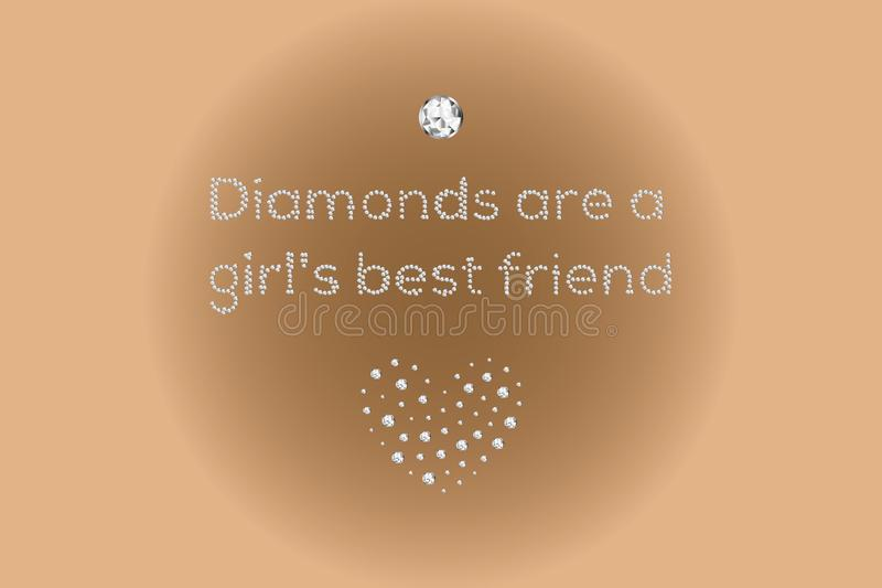 金刚石是女孩的最好的朋友,金刚石做的文本 向量例证