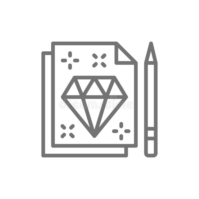 金刚石标志剪影,纹身花刺演播室合同线象 库存例证