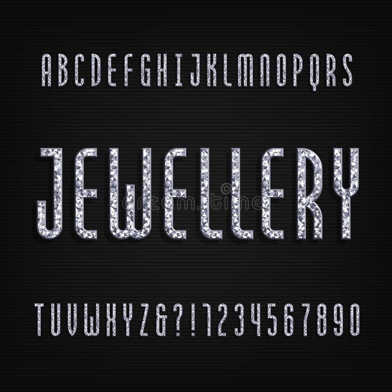 金刚石水晶字母表字体 豪华首饰信件和数字 向量例证