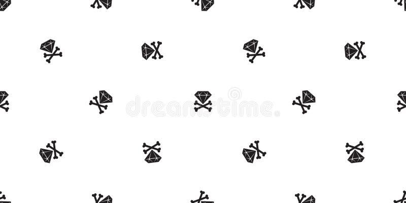 金刚石海盗无缝的样式十字架骨头万圣夜头骨围巾被隔绝的瓦片背景重复墙纸 向量例证