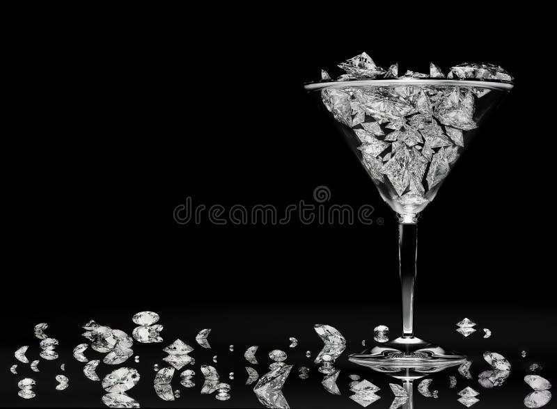 金刚石玻璃马蒂尼鸡尾酒 库存照片