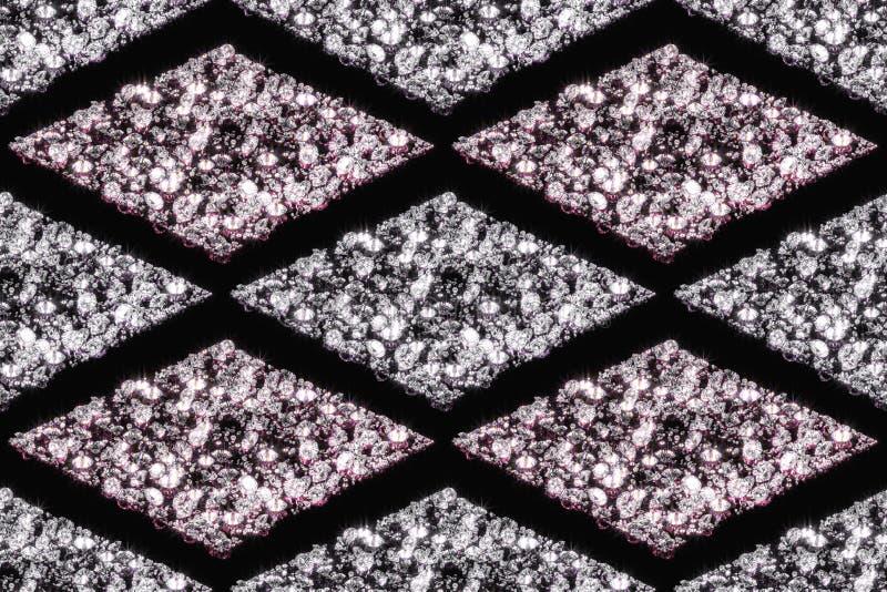 金刚石的无缝的样式在白色和桃红色颜色的 库存图片