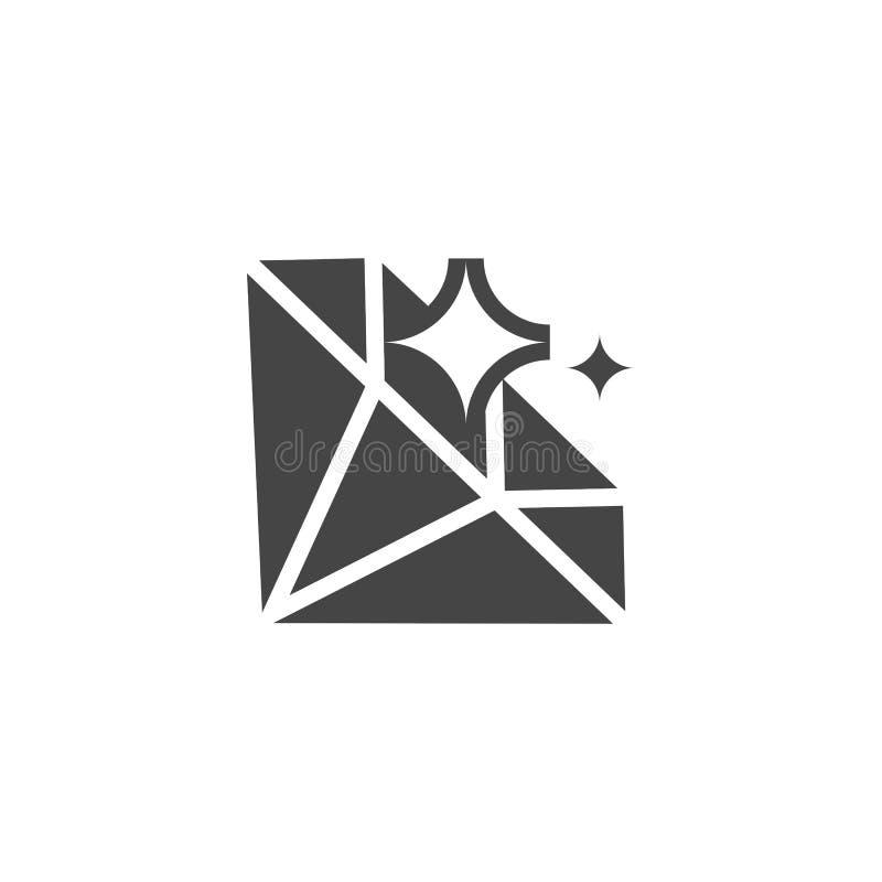 金刚石纵的沟纹象 水晶,在黑平的设计的珍贵的宝石标签  精采商标 比赛UI和UX元素 库存例证