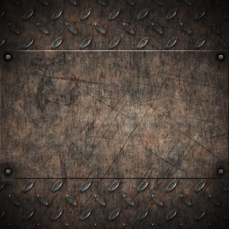 金刚石脏的金属老牌照 向量例证