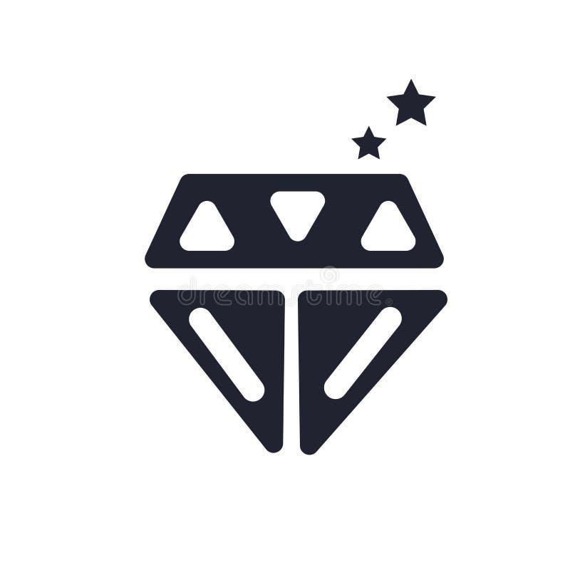 金刚石象在白色背景和标志隔绝的传染媒介标志,金刚石商标概念 皇族释放例证