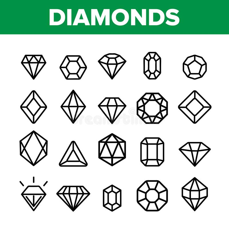 金刚石,宝石导航稀薄的线象集合 库存例证