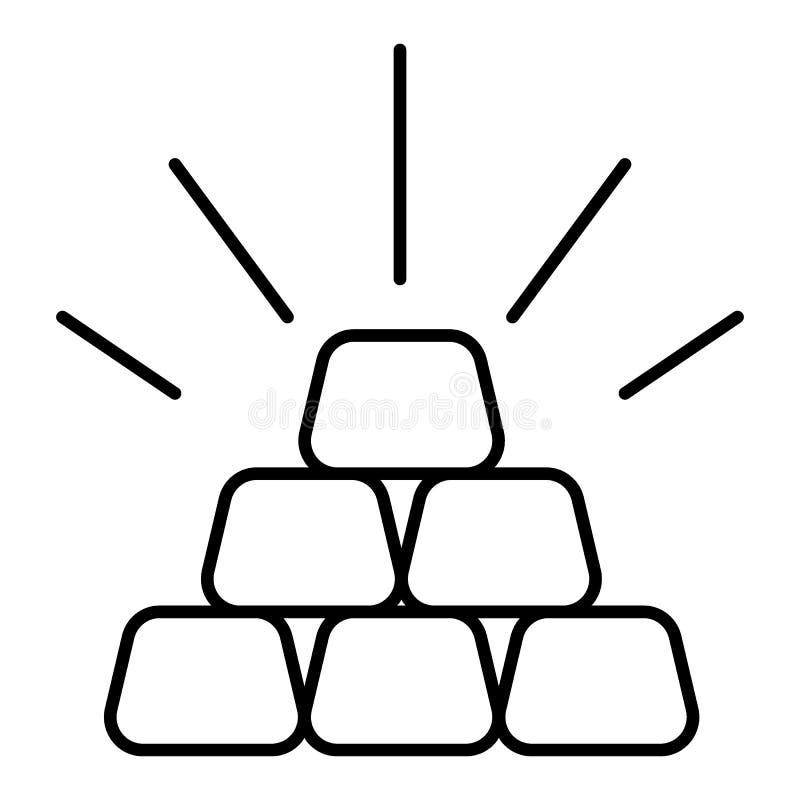 金制马上的齿龈稀薄的线平的象 线性传染媒介例证 在白色背景隔绝的图表 概述设计 向量例证