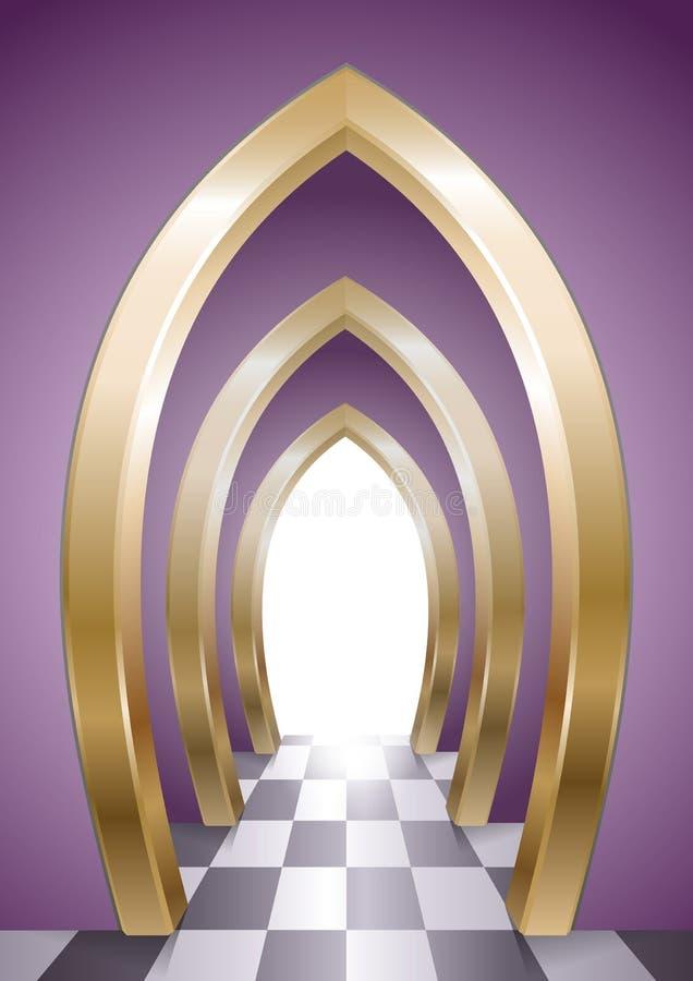 黄金双拱意想不到的拱廊  向量例证