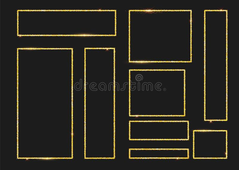 金发光的发光的框架设置与在透明背景隔绝的阴影 盒豪华现实正方形,回合 库存例证