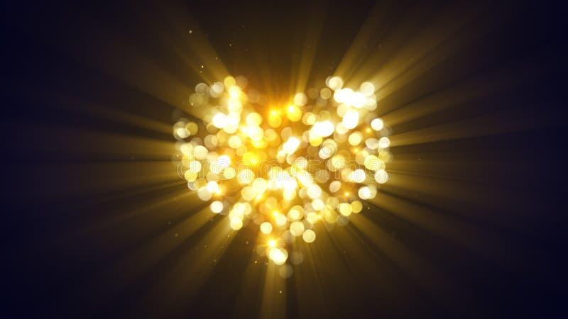 金发光的心脏形状 向量例证