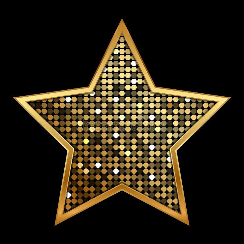 金发光的星 向量例证