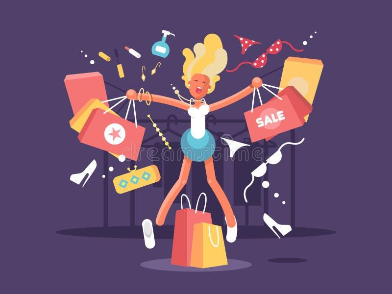 年轻金发碧眼的女人去购物 库存例证