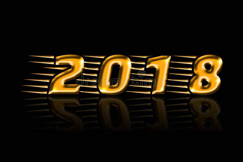 金叶2018年和它的在黑背景的足迹 免版税库存照片