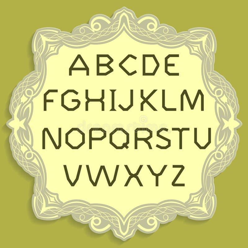 金名义的信件 传染媒介简单的字母表 在一张黄色葡萄酒卡片安置的金字体 皇族释放例证