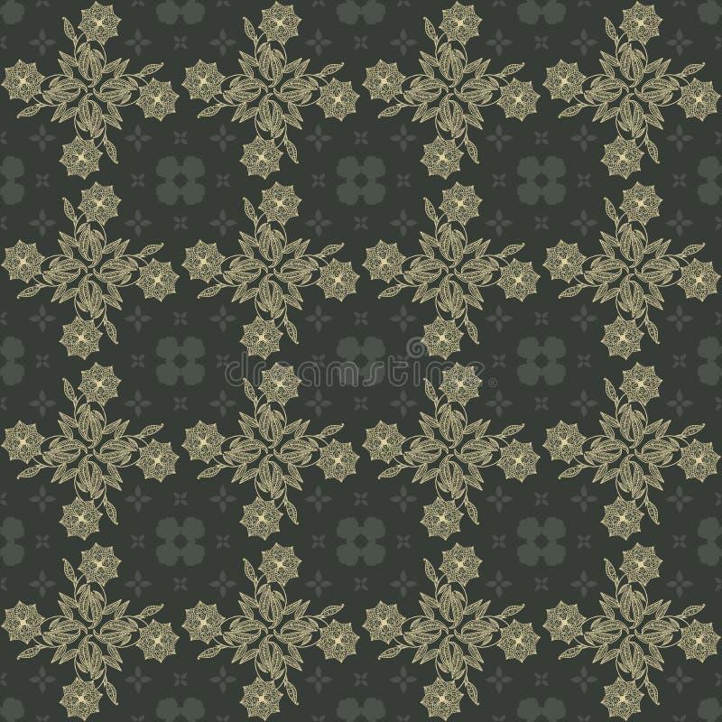 金和灰色锦缎无缝的花卉模式 皇族释放例证