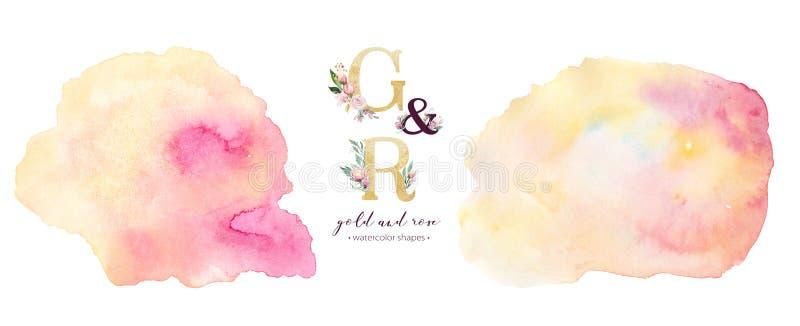 金和玫瑰水彩丙烯酸漆背景形状 在白色的抽象金黄艺术刷子墨水油漆 装饰设计 皇族释放例证