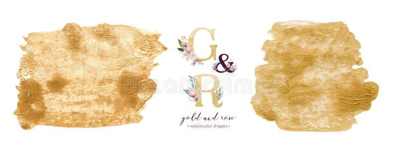 金和玫瑰水彩丙烯酸漆背景形状 在白色的抽象金黄艺术刷子墨水油漆 装饰设计 免版税库存图片