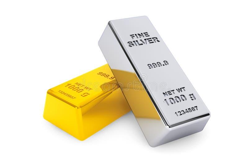 金和银条 向量例证