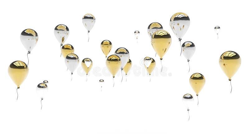 金和银气球 库存例证