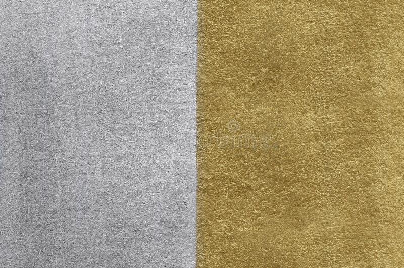 金和银箔纹理 金黄抽象的背景 免版税图库摄影