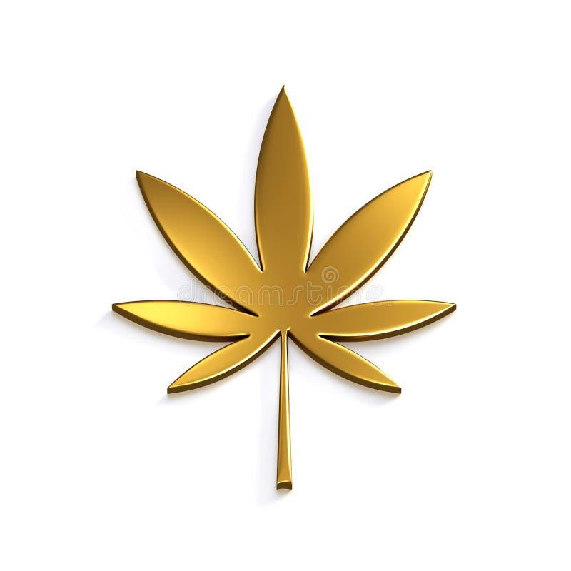 金在白色背景的大麻叶子 3d例证回报 向量例证