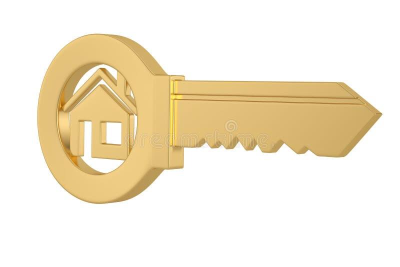 金在白色背景3D例证隔绝的房子钥匙 向量例证