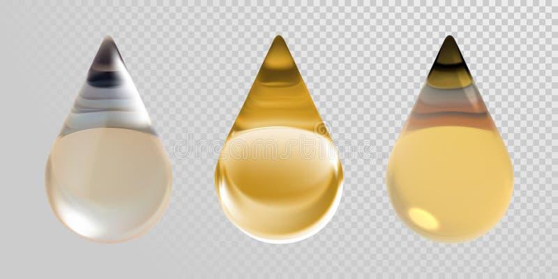 金在透明背景的油下落 导航3d化妆用品的现实轻质油精华小滴 库存例证