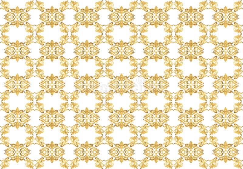 金在经典锦缎样式的装饰品样式 皇族释放例证