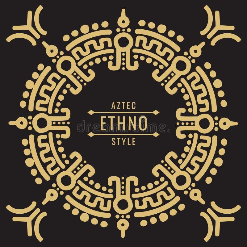 金墨西哥部族框架设计- ethno atzec 库存例证