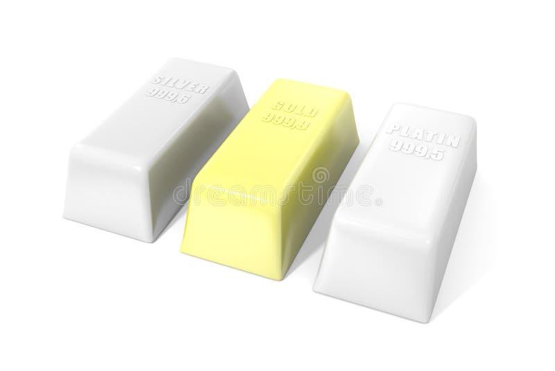 金子、白金和银块在白色背景 向量例证