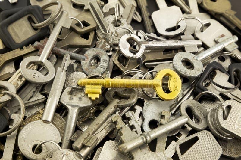 金子万能钥匙和老金属钥匙 库存照片