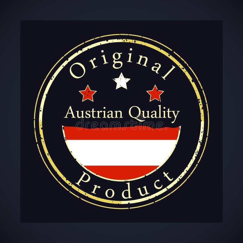 金子与文本奥地利质量和原始的产品的难看的东西邮票 皇族释放例证