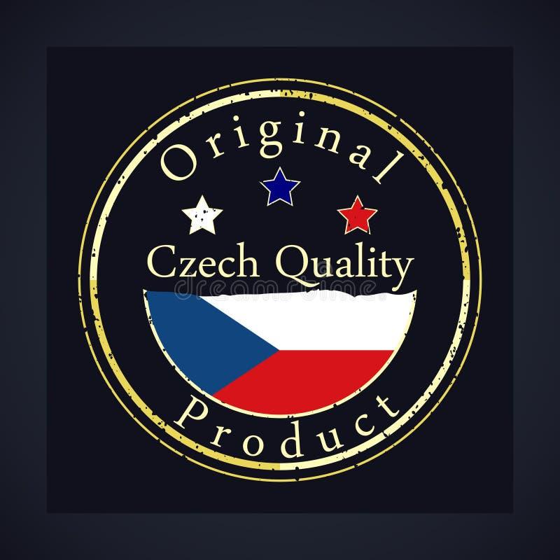 金子与文本捷克质量和原始的产品的难看的东西邮票 库存例证