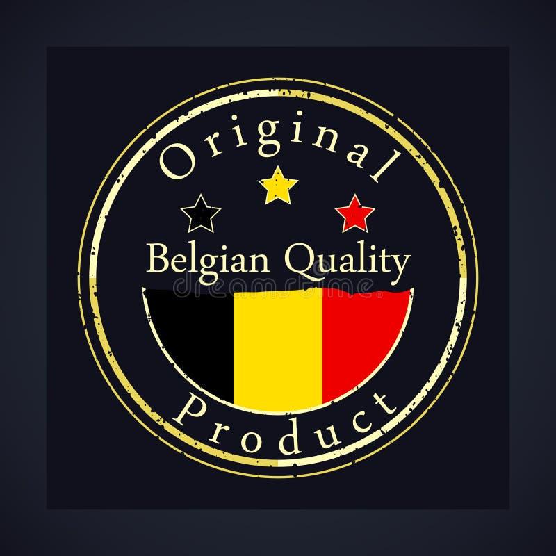 金子与文本比利时质量和原始的产品的难看的东西邮票 库存例证