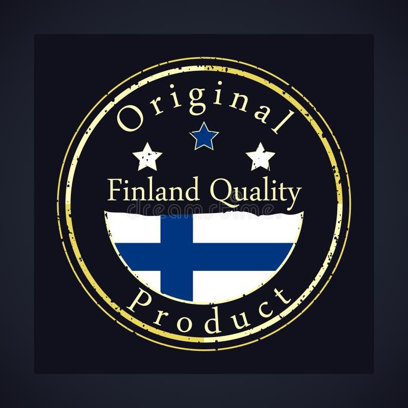 金子与文本芬兰质量和原始的产品的难看的东西邮票 库存例证