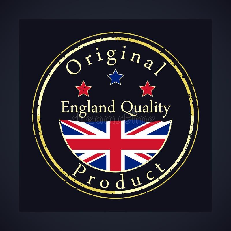 金子与文本英国质量和原始的产品的难看的东西邮票 向量例证