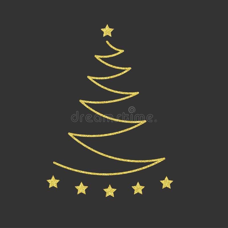 金子与星的圣诞树 金黄的闪烁 传染媒介illustrat 库存例证