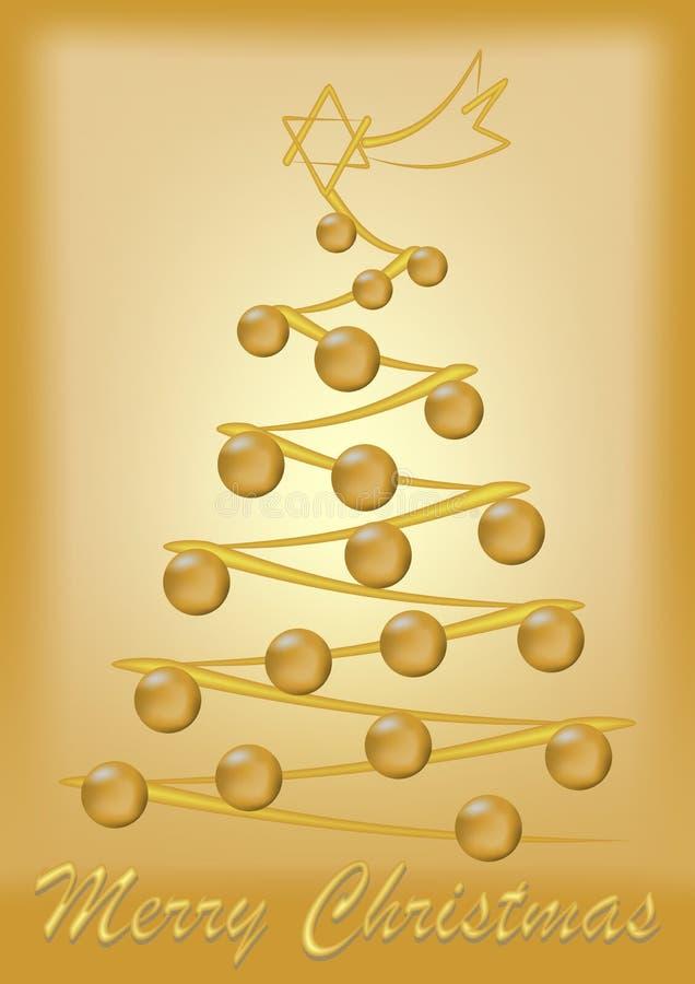 金子与树的色的圣诞卡 向量例证